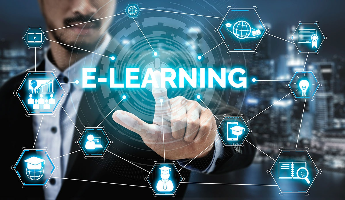 E-learning and Online Education for Student and University Concept. Graphic interface showing technology of digital training course for people to do remote learning from anywhere.